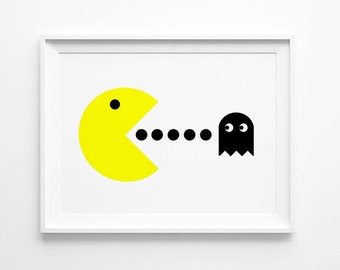 Pacman and Ghost Poster Print, 80's,  Scandinavian Art, White, Yellow, Large Wall Art, Oversized Art, Gift for Men, Trending Items, Trending
