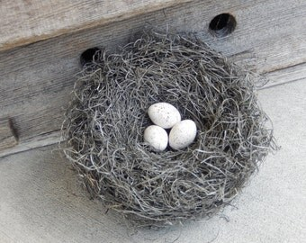 Bird Nest Realistic Handmade with White Speckled Eggs