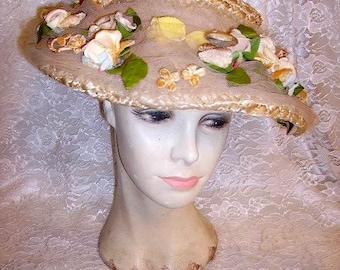 Fabulous Vintage 1930's-40's Ladies Floral Hat Designer Label