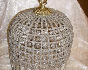Romantic Crystal and Beaded Birdcage Chandelier, Crystal Prisms, Beaded Frame #1