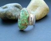 Candelaria turquoise ring, green turquoise, genuine turquoise, size 7 ring, sterling silver, green gemstone, real turquoise, green jewelry