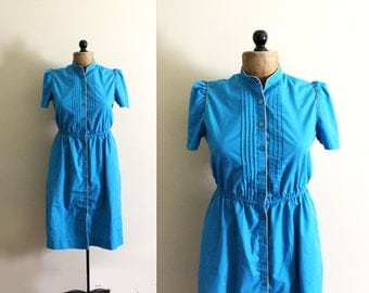 vintage dress turquoise blue 80s contrast piping retro 1980s womens clothing size s small