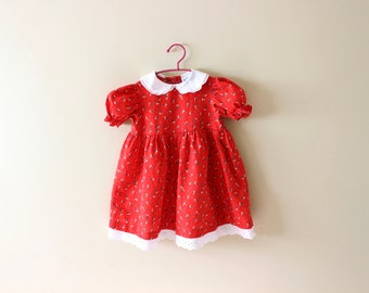 vintage dress girl's 80s childrens clothing red floral print lace 1980s size 6