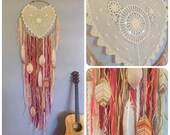 "Huge 20"" x 65"" DreamCatcher with Heart Lace + Hand Painted Feathers"