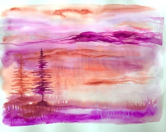 Tree Song #10 Large Original Watercolor Gouache Acrylic Contemporary Abstract Painting 22x30