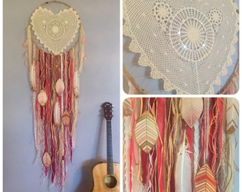 "SALE: Huge 20"" x 65"" DreamCatcher with Heart Lace + Hand Painted Feathers"