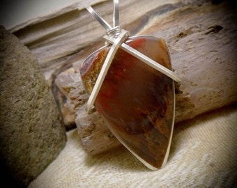 Wire Wrapped Stone Red Plume Flame Agate Gemstone Necklace Pendant