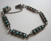 vintage sterling silver and turquoise bracelet - vintage handmade, box clasp, estate jewelry