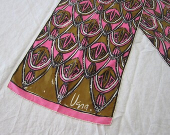 vintage scarf - vintage VERA silk scarf - 9.5 x 42 inches - pink and olive green - hand rolled edges.