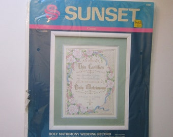 vintage crewel kit - HOLY MATRIMONY Wedding Record - Sunset - unopened - circa 1991