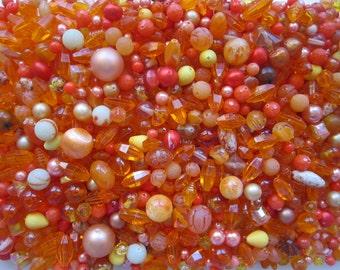 vintage bead mix - ORANGE mix - 4 cups, vintage beads - vintage plastic beads, salvaged beads