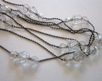 vintage sterling silver and crystal chain necklace - 40 inches - clasp marked FC 78 STERLING