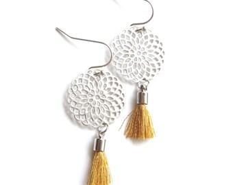Gold Tassel Earrings, Tassel Earrings, Silver Tassel Earrings, Cotton Tassel Earrings, Filigree earrings