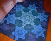 L Metatron's Cube Sacred Geometry Tank Top w/ Chakras on Back Handpainted Mandala w/ Flower of Life, Honeycomb, Fractal Hexagons