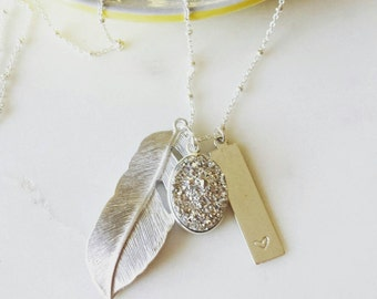 Personalized silver druzy and feather necklace, Celeste, pretty modern jewelry