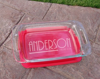 Engraved Glass cooking Dish Casserole Dish Modern with personalized Name and Established date  perfect Gift 004