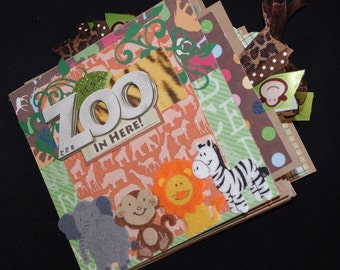 Family Zoo Premade 6x6 Paper Bag album Boy or Girl journal cards, just add photos!
