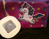 Super cute purple polka dot makeup bag with unicorn embroidered patch,  ready to ship