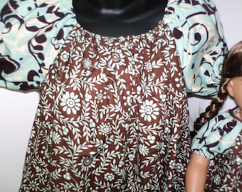 """American Made Matching Girl and Doll Peasant Brown N Aqua Floral Print Dress Girl Dress Size 5 Girl and 18 """" Doll Dress"""