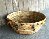 Rope Coiled Basket - Beaded Fabric Bowl - Rag Gift Basket - Entryway Storage