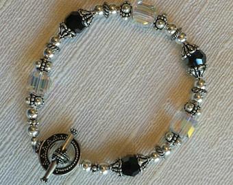 Jet, Swarovski crystal, and sterling silver bracelet