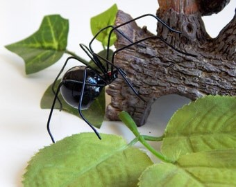 Medium Black Widow Spider Wire Art Trendy Nature Gift Unique Collectible for Insect Lovers Little Beastie for Halloween Decoration