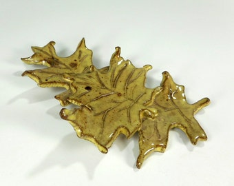 Ceramic leaf hanging - pottery oak leaf - ceramic maple leaf - ceramic fall leaves home decor - yellow maple leaf - oak leaf hanging