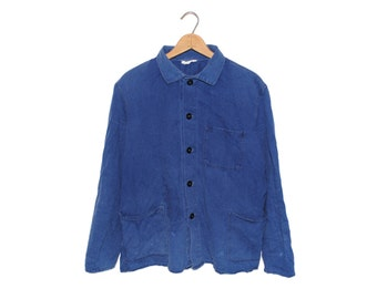 Vintage European Cobalt Blue Button Up 100% Cotton Weathered Chore Coat - Medium