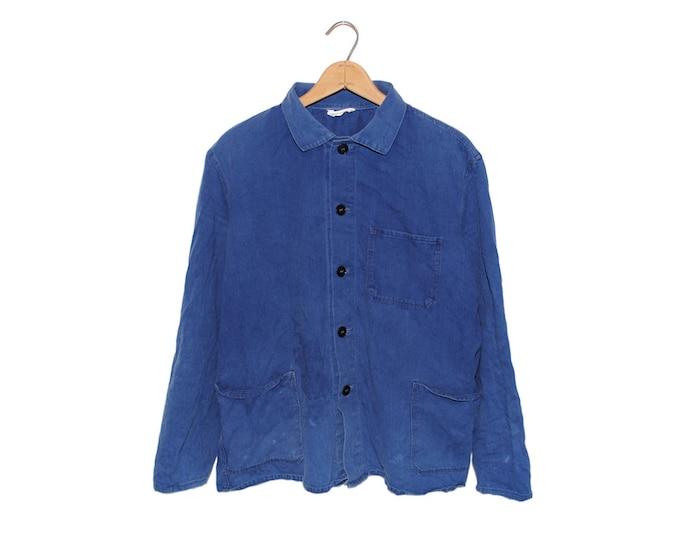 Vintage European Cobalt Blue Button Up 100% Cotton Weathered Chore Coat - Medium