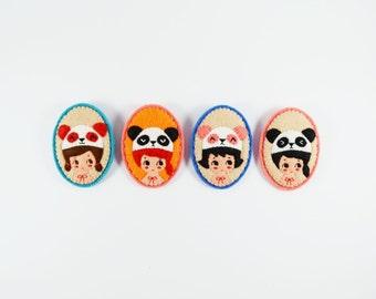 50% SALE Miss Panda Felt Brooch / Miniature Portrait Brooch / Panda Bear Lover Felt Brooch / Animal Lover Brooch / Kawaii Girl Pin