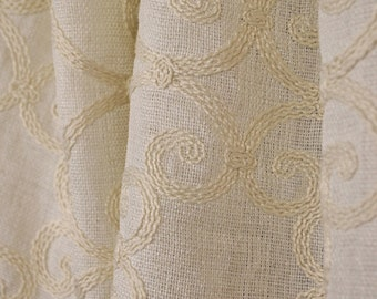 Leiden Natural Crewel Fabric