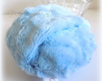 BLUE Powder Puff - big and cuddly soft powder duster - gift box option - 5 inch pouf bleu - handmade by Bonny Bubbles