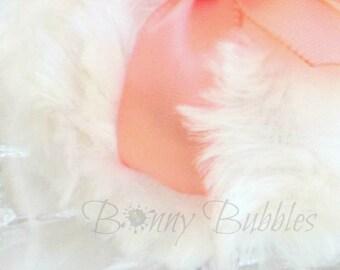 PEACH Powder Puff - La Petite Peach - peach and cream powderpuff - miniature pouf peche creme - gift box option - by Bonny Bubbles