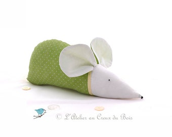 Green baby room decor, nursery decor,  green mouse, baby gift, baby shower