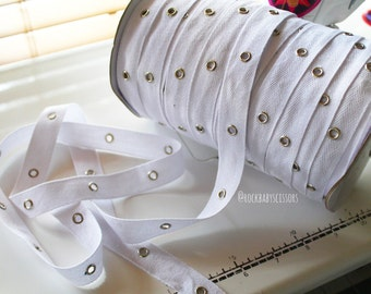 "3/4"" (20mm) White Eyelet Tape with Nickle eyelets BY THE YARD"