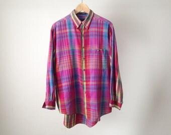 vintage FLANNEL nirvana kurt COBAIN 90s soft plaid flannel shirt size LARGE twin peaks style pastel flannel