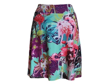 "Travel Skirt in Bright Pink and Mint, Graffiti Style, Abstract Floral Print, ""Reconcile"" Skirt"