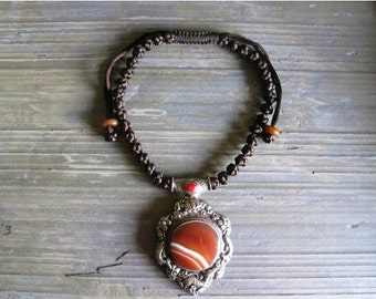20% OFF ON SALE Red Agate Pendant with Tibetian Silver Necklace, Gemstone Jewelry