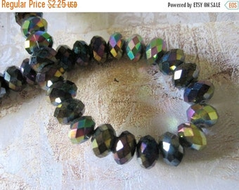20% OFF ON SALE Rainbow Chinese Crystal Ab Faceted Roundelle 8mmx5mm Beads, 12 pcs