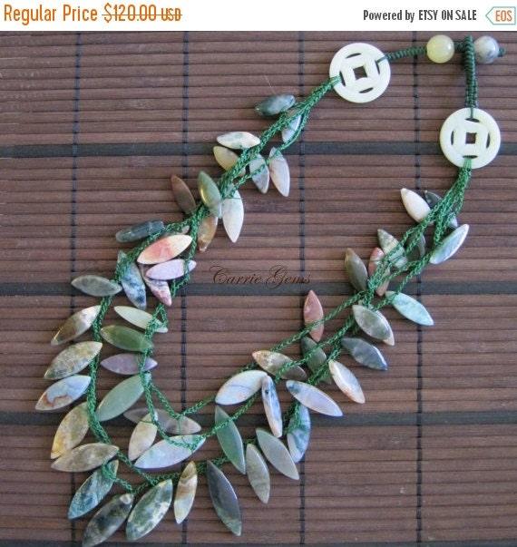 20% OFF ON SALE 4-strand Green Jasper handmade Necklace