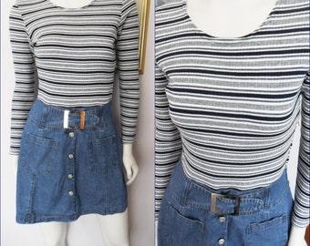 Vtg.60s Mod Striped Denim Buckle Mini Dress by Concepts California.Size.Small.Bust 36.Waist 27.