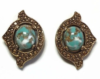 """60's Sarah Cov Turquoise Clip Earrings in Cabochon & Gold Beaded Metal Design called """"Remembrance"""" - Vintage 1968 Designer Costume Jewelry"""