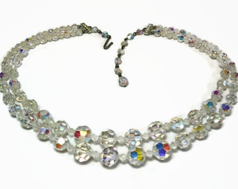 50s 2 Strand AB Crystal Bead Necklace with Faceted Round Beads & Rhinestone Accented Silver Findings - Vintage Circa 50's Costume Jewelry