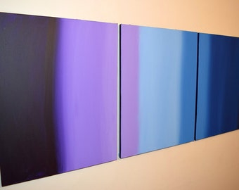 """large wall art abstract triptych modern painting """"Linear purple"""" surreal contemporary canvas art 3 panel three panel triptyque 27x12"""""""
