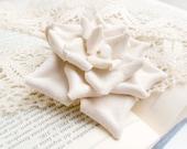 Cream leather flower brooch