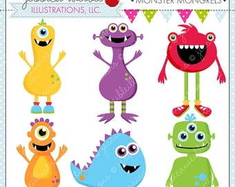 SALE Monster Mongrels Cute Digital Clipart for Card Design, Scrapbooking, and Web Design