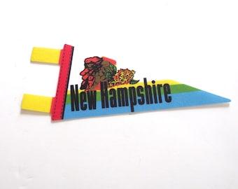 New Hampshire Souvenir Pennant, Vintage Miniature NH Felt Flag in Bright Colors