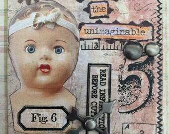 Figure 6 A Handmade Original ACEO Creepy Baby Doll Head ACEO Antique Doll Head Artist Trading Cards Etsy Steampunk Art Etsy Doll Art
