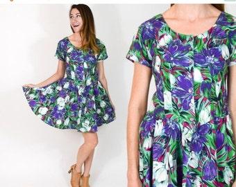 SummerS SALE 80s Green Floral Dress | Tropical Print Mini Summer Dress | Small