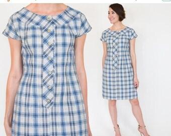 SummerS SALE 50s Blue Plaid Dress | Cotton Plaid Mini Dress, Small